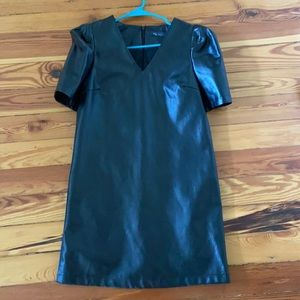 KLD Faux Leather Puff Sleeve Dress